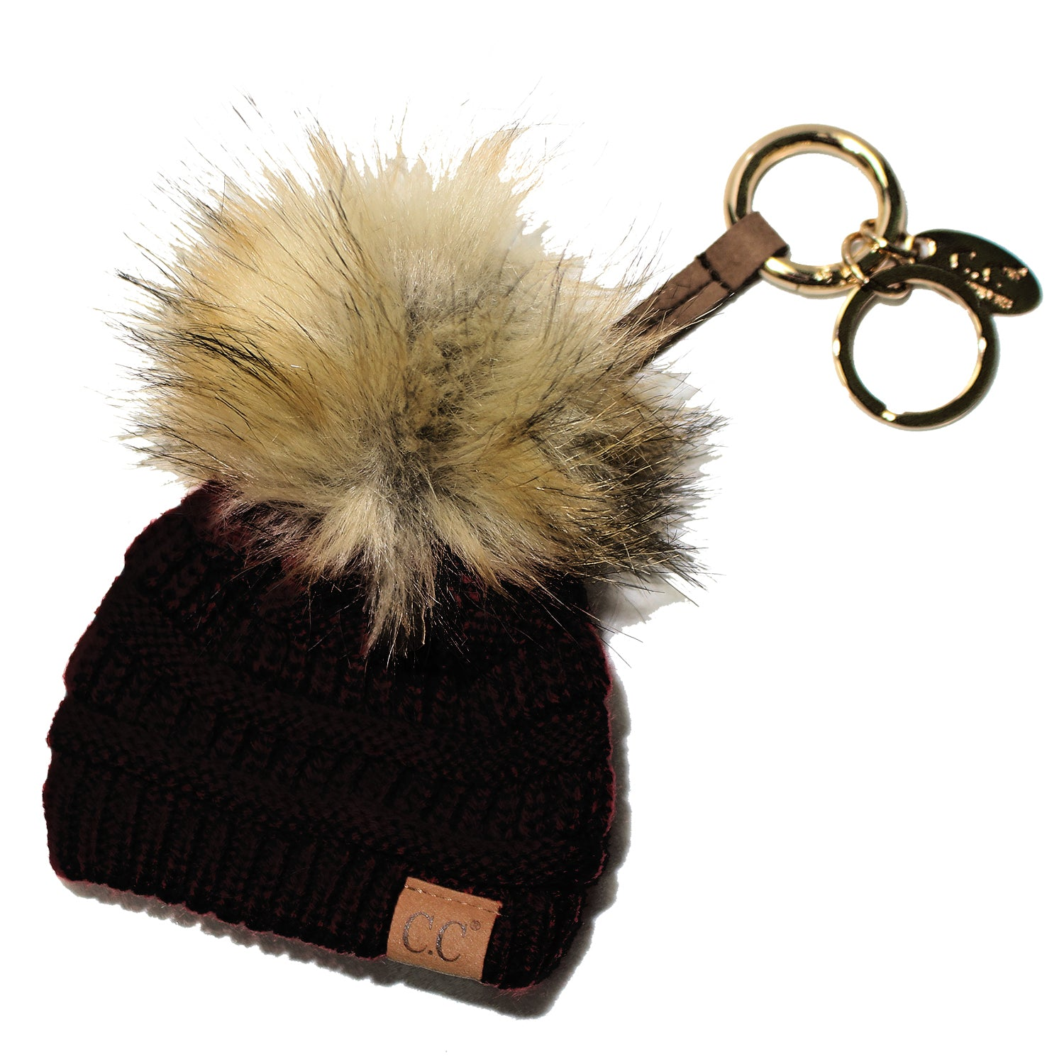 KB-43 Keychain W/FAUX FUR POM -Black
