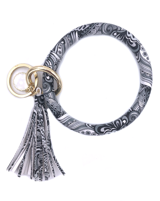 KC-8845 Black White Feather Key Chain