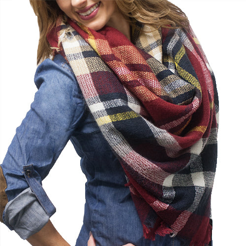 BLANKET SCARF 4 RED OR WINE