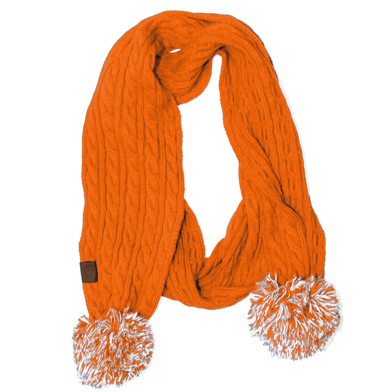 SK-56-8 Bright Orange Team Pom-Pom Scarf