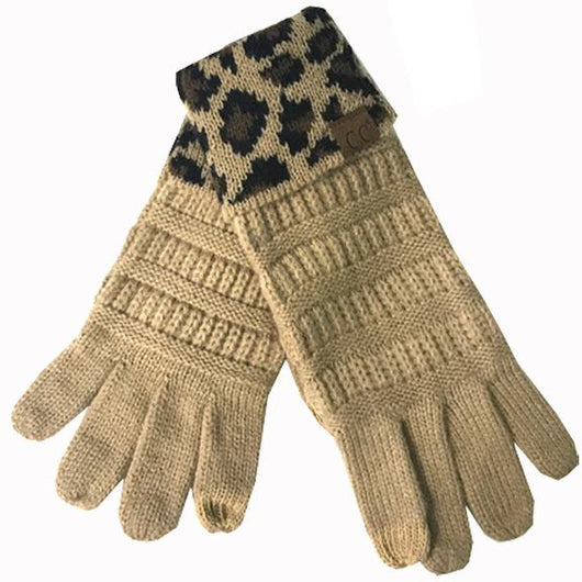 G-45 C.C Camel Gloves with Leopard cuff
