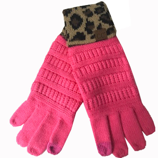 G-45 C.C New Candy Pink Gloves with Leopard cuff