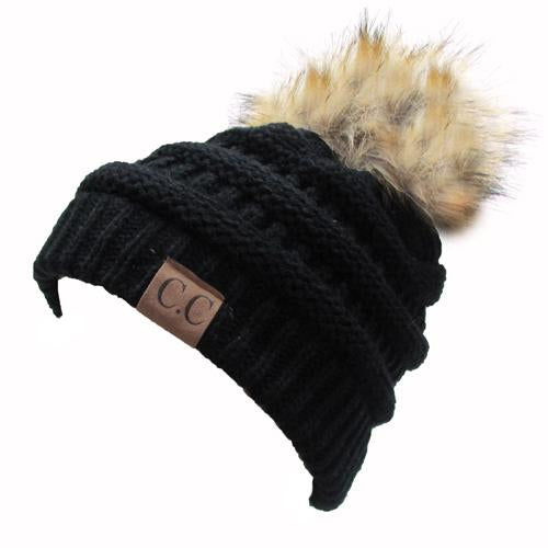 Hat-43 BEANIE W/FAUX FUR POM - BLACK