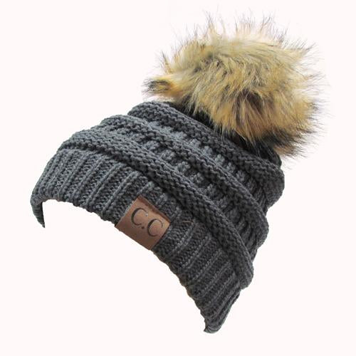 Hat-43 BEANIE W/FAUX FUR POM - DARK MELANGE GREY