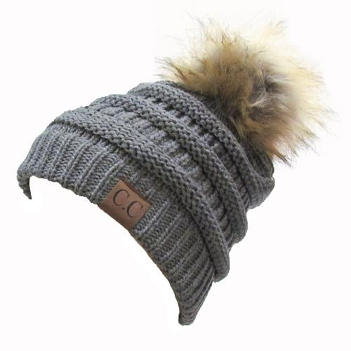 Hat-43 BEANIE W/FAUX FUR POM - LIGHT MELANGE GREY