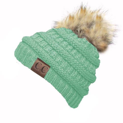 Hat-43 BEANIE W/FAUX FUR POM - Mint