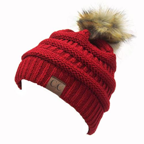 Hat-43 BEANIE W/FAUX FUR POM - RED
