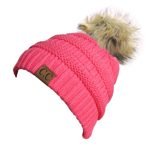 Hat-43 BEANIE W/FAUX FUR POM - NEW CANDY PINK