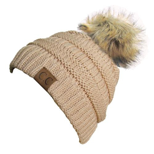 Hat-43 BEANIE W/FAUX FUR POM - NEW BEIGE