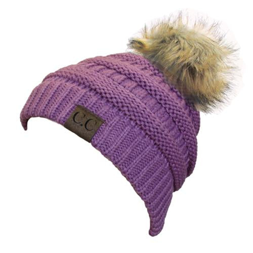 Hat-43 BEANIE W/FAUX FUR POM - NEW LAVENDER