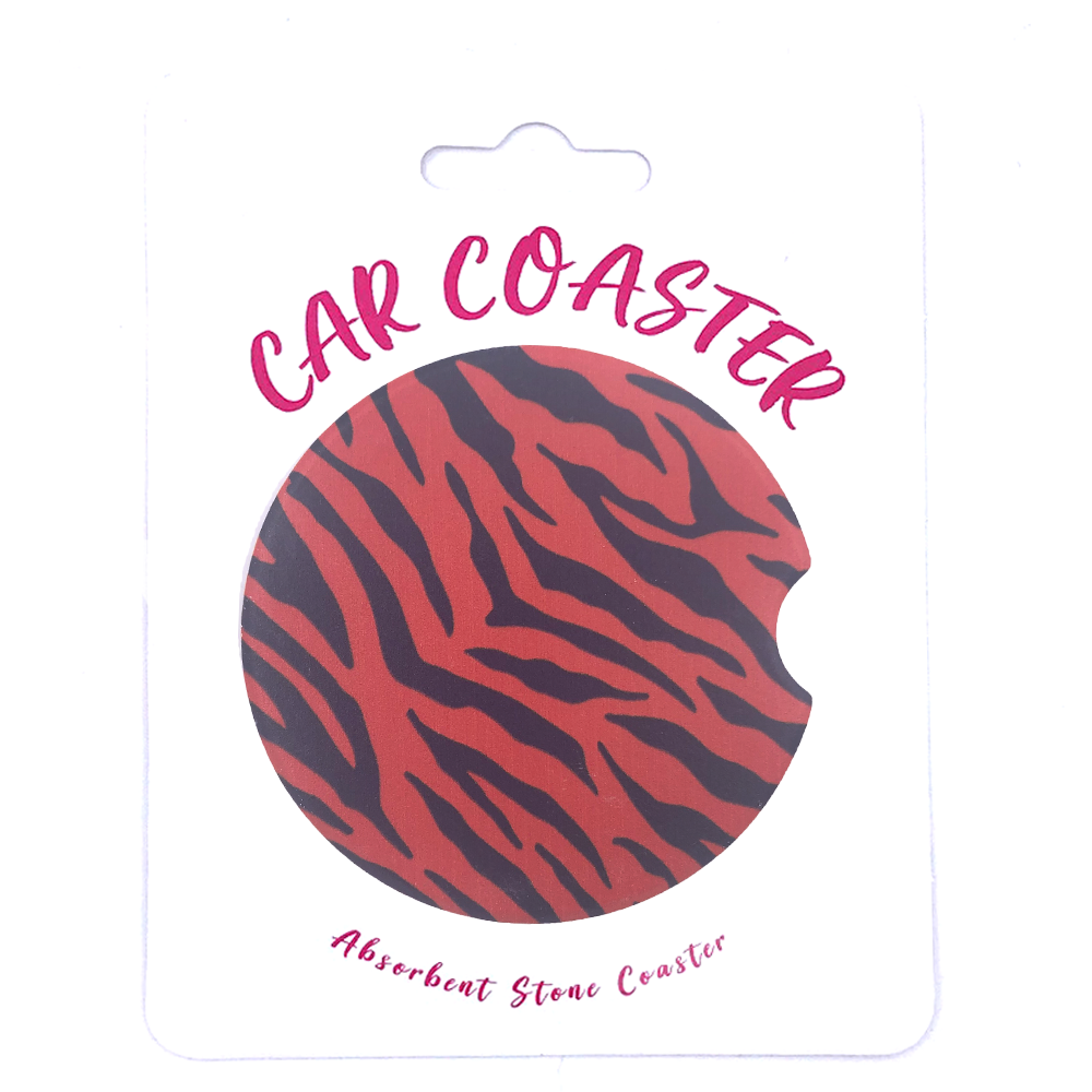 C23 - Car Coaster - Orange/Blue Tiger