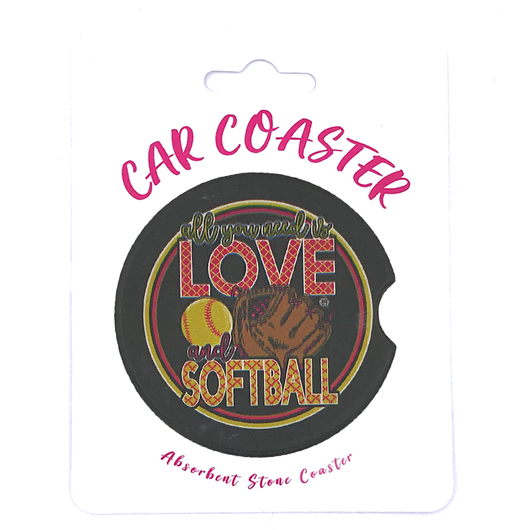 C33 - Car Coaster - Love Softball