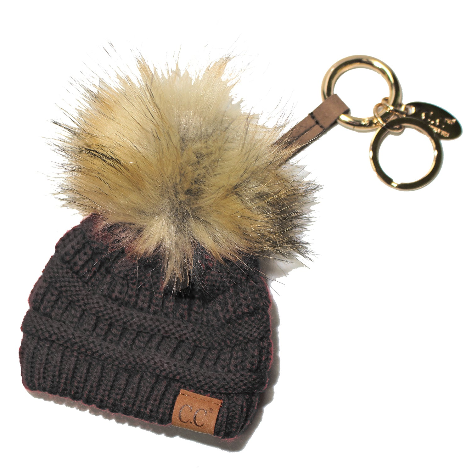 KB-43 Keychain W/FAUX FUR POM -Dark Grey