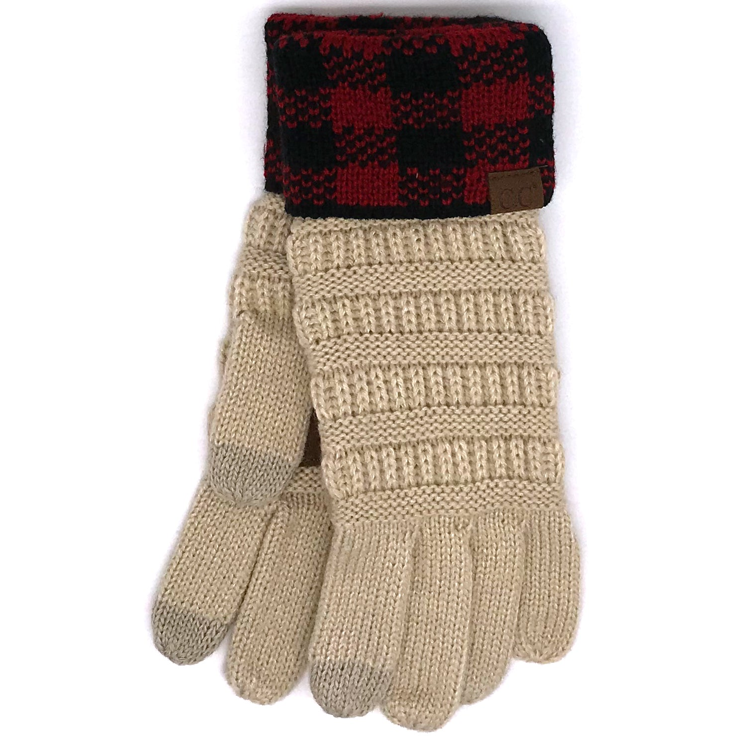 G-17 GLOVE BUFFALO PLAID CUFF BEIGE RED/BLACK