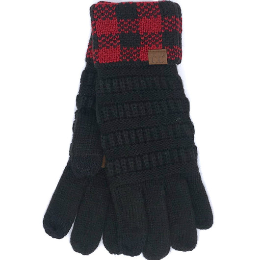 G-17 GLOVE BUFFALO PLAID CUFF BLACK RED-BLACK