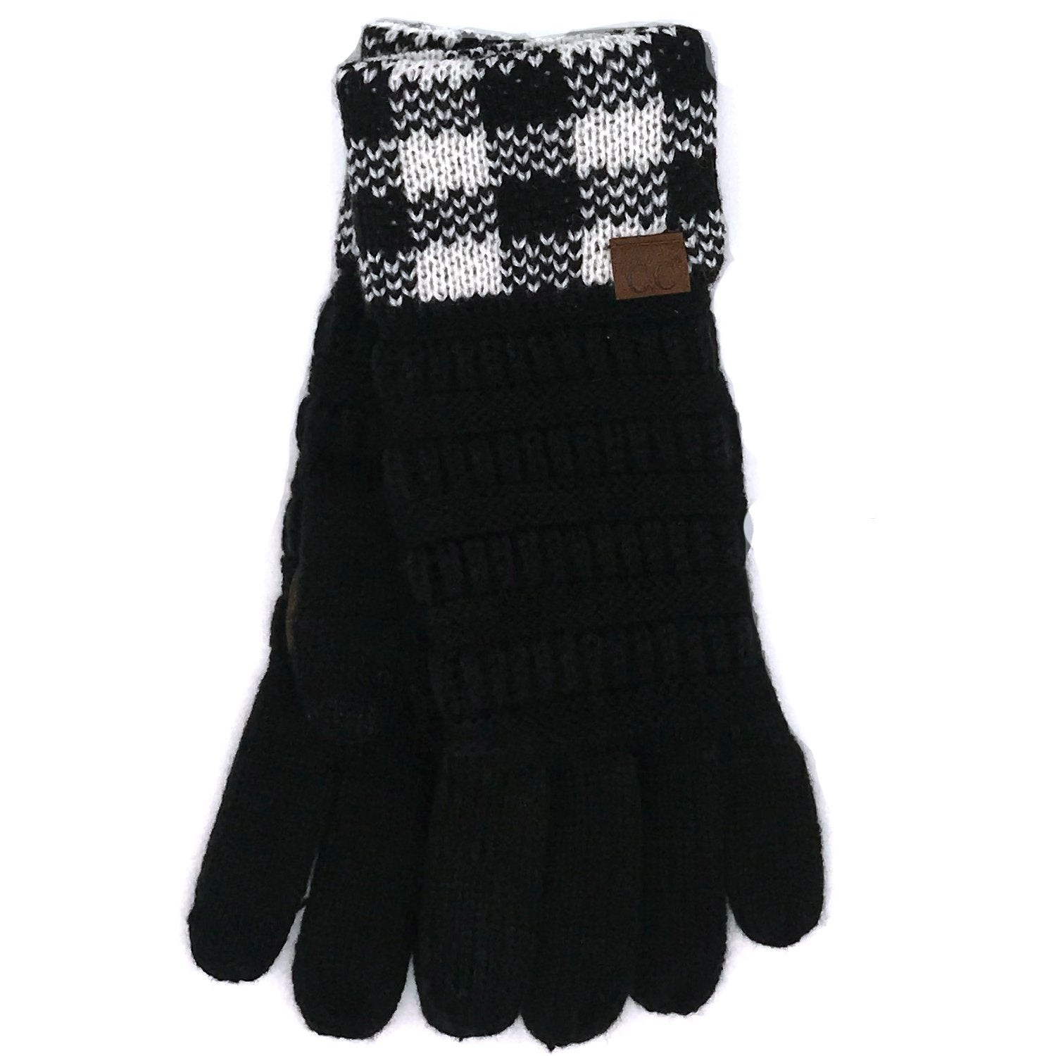 G-17 GLOVE BUFFALO PLAID CUFF BLACK WHITE-BLACK