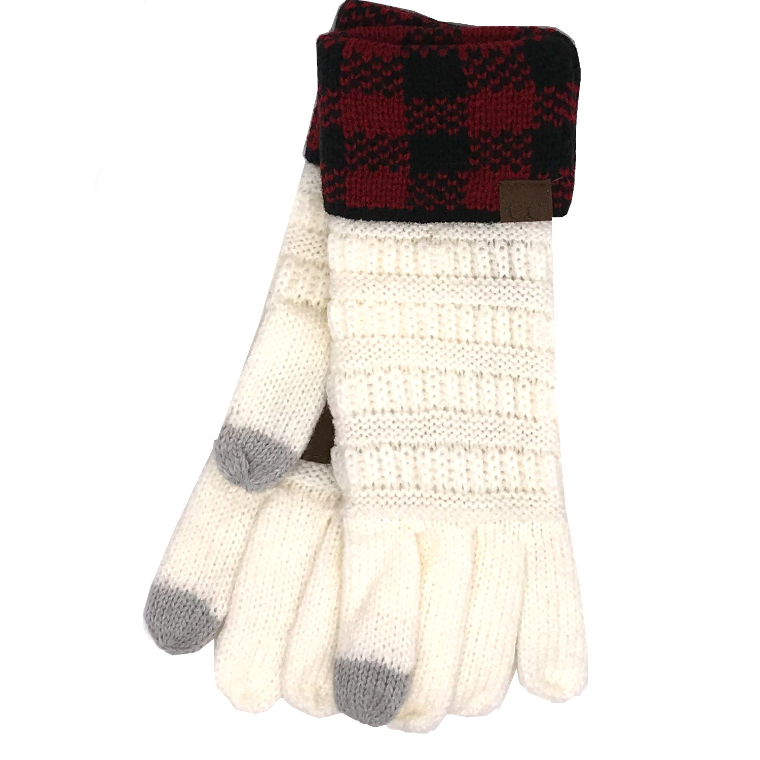 G-17 GLOVE BUFFALO PLAID CUFF IVORY RED/BLACK