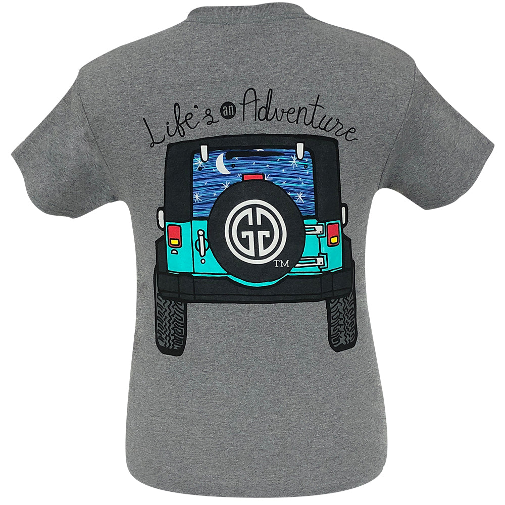 GIRLIE GIRL Life's An Adventure Graphite Heather Short Sleeve - 2095