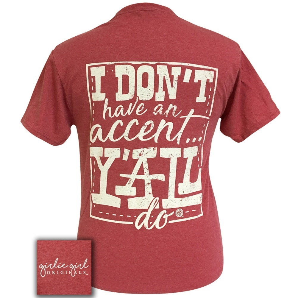 GIRLIE GIRL Accent Y'all Vintage Heather Red Short Sleeve - 1796