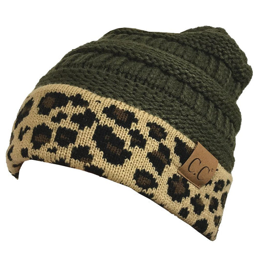 Hat-45 New Olive Leopard Beanie