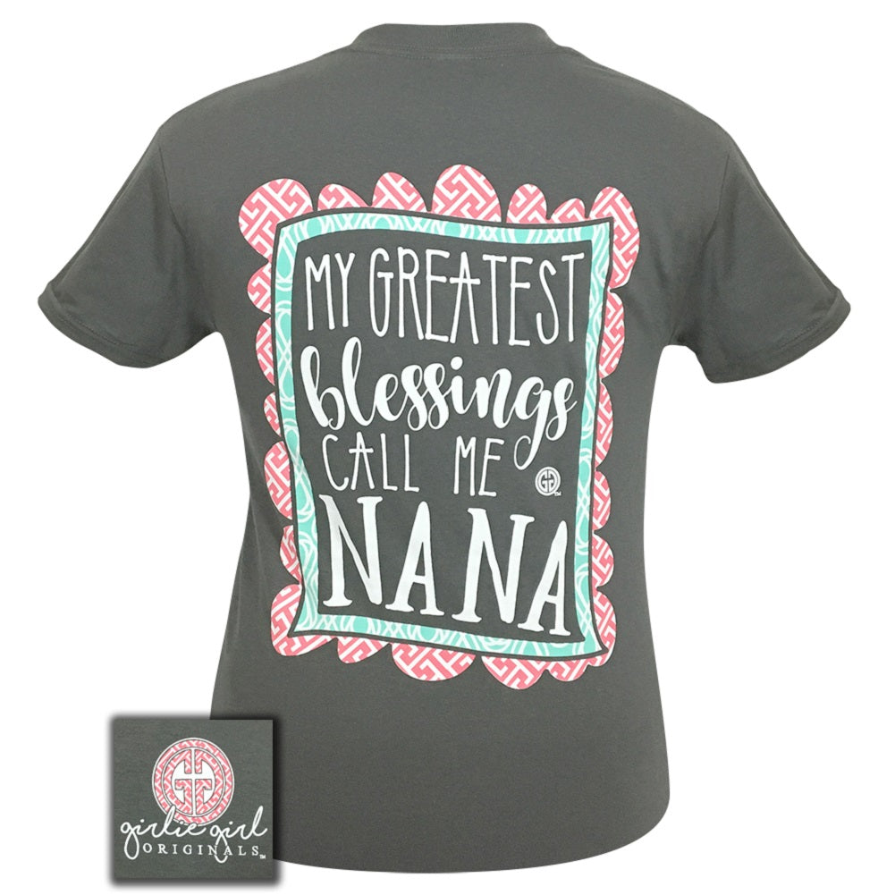 GIRLIE GIRL Greatest Blessings Nana Charcoal Short Sleeve - 1620