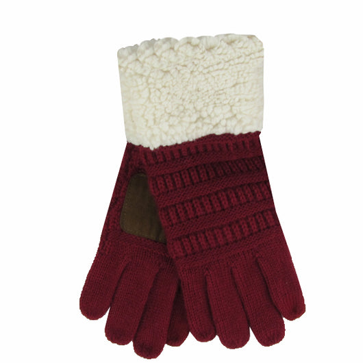 G-88 Sherpa Gloves Burgundy/Beige