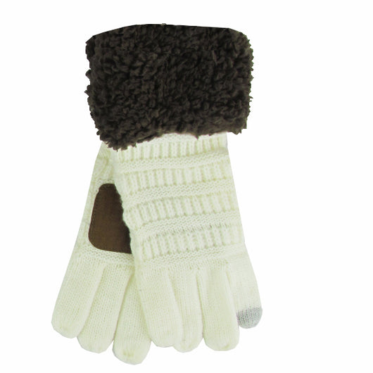 G-88 Sherpa Gloves Ivory/Brown