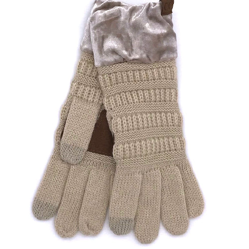 G-89 C.C Beige Gloves with Crushed Velvet cuff