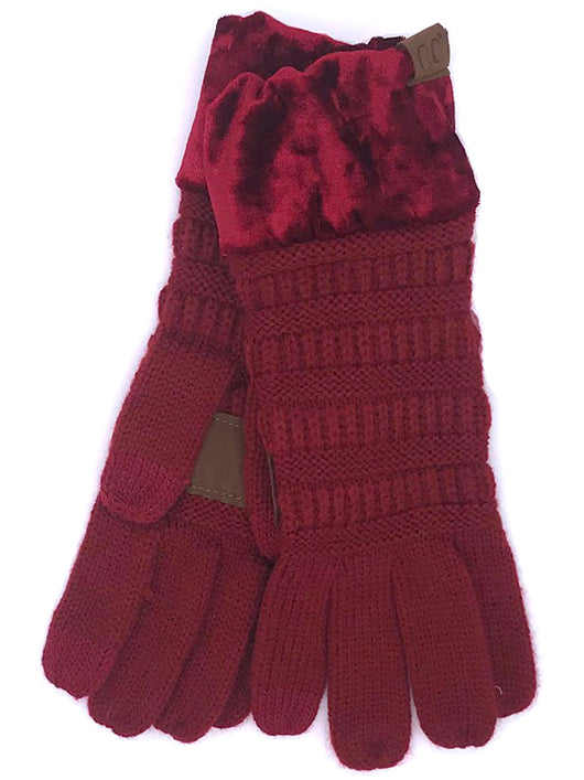 G-89 C.C Burgundy Gloves with Crushed Velvet cuff
