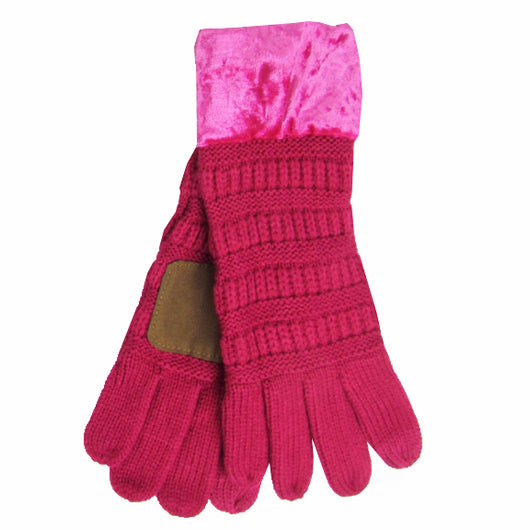 G-89 C.C Hot Pink Gloves with Crushed Velvet cuff