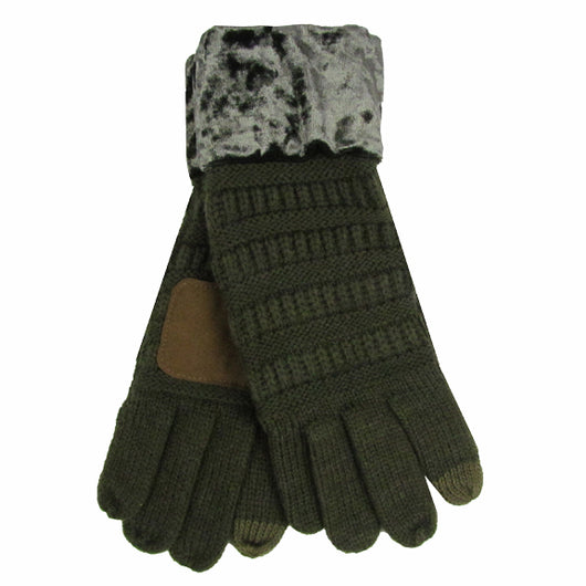 G-89 C.C New Olive Gloves with Crushed Velvet cuff