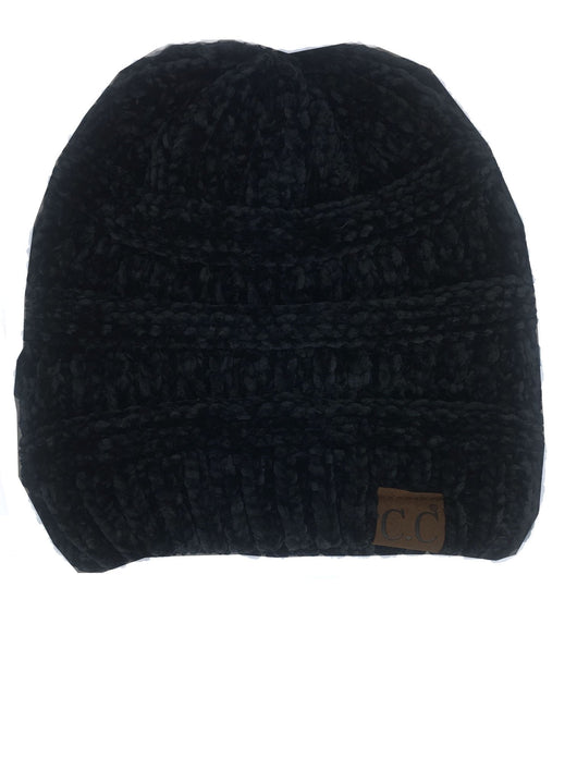 Hat-30 BLACK VELOUR BEANIE