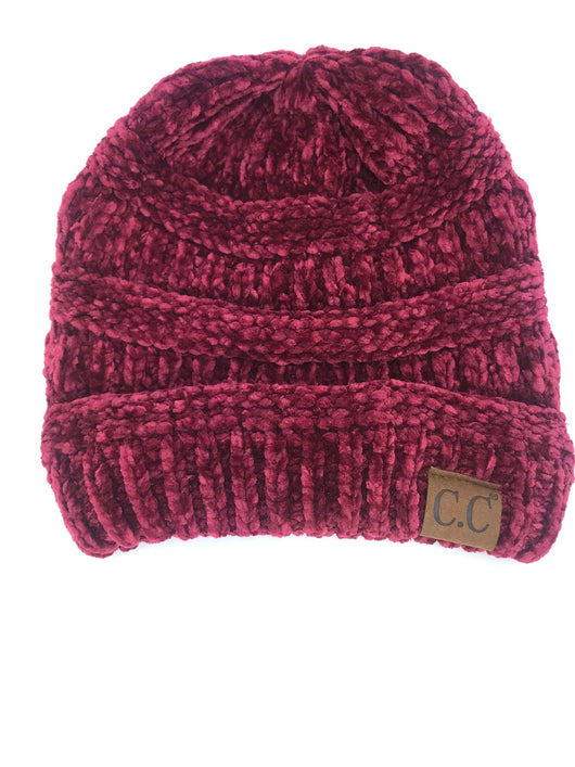 Hat-30 BURGUNDY VELOUR BEANIE