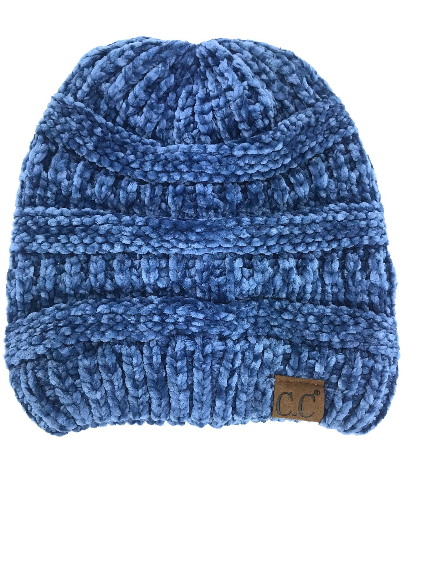 Hat-30 DARK DENIM VELOUR BEANIE
