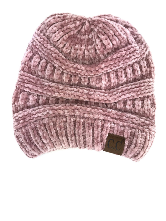 Hat-30 ROSE VELOUR BEANIE