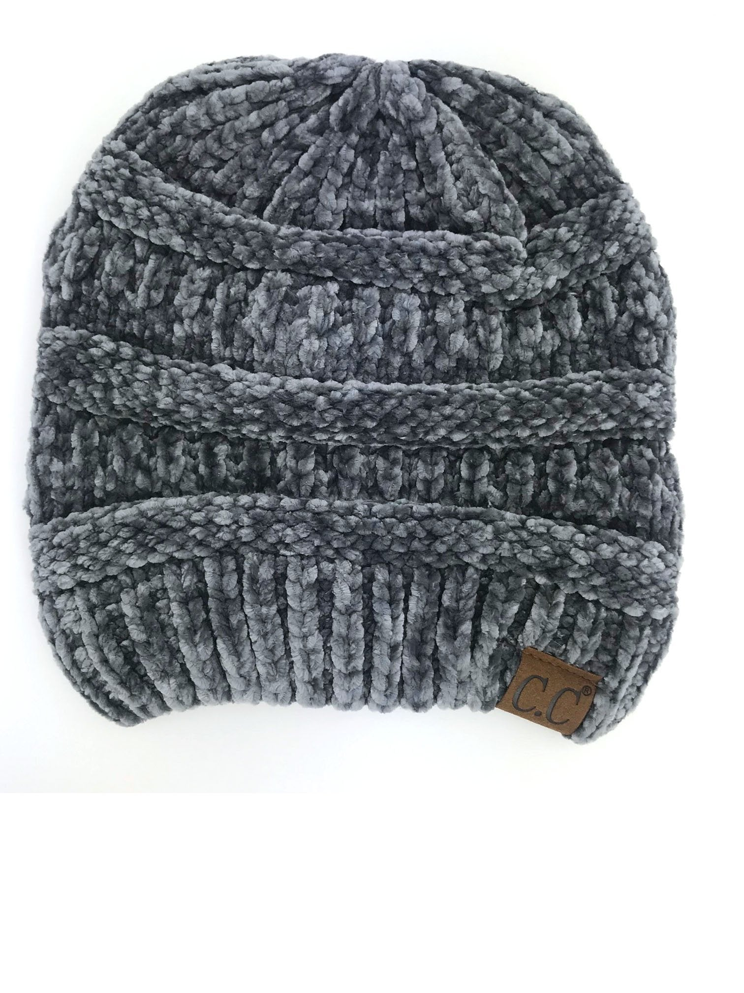 Hat-30 LIGHT MELANGE GREY VELOUR BEANIE