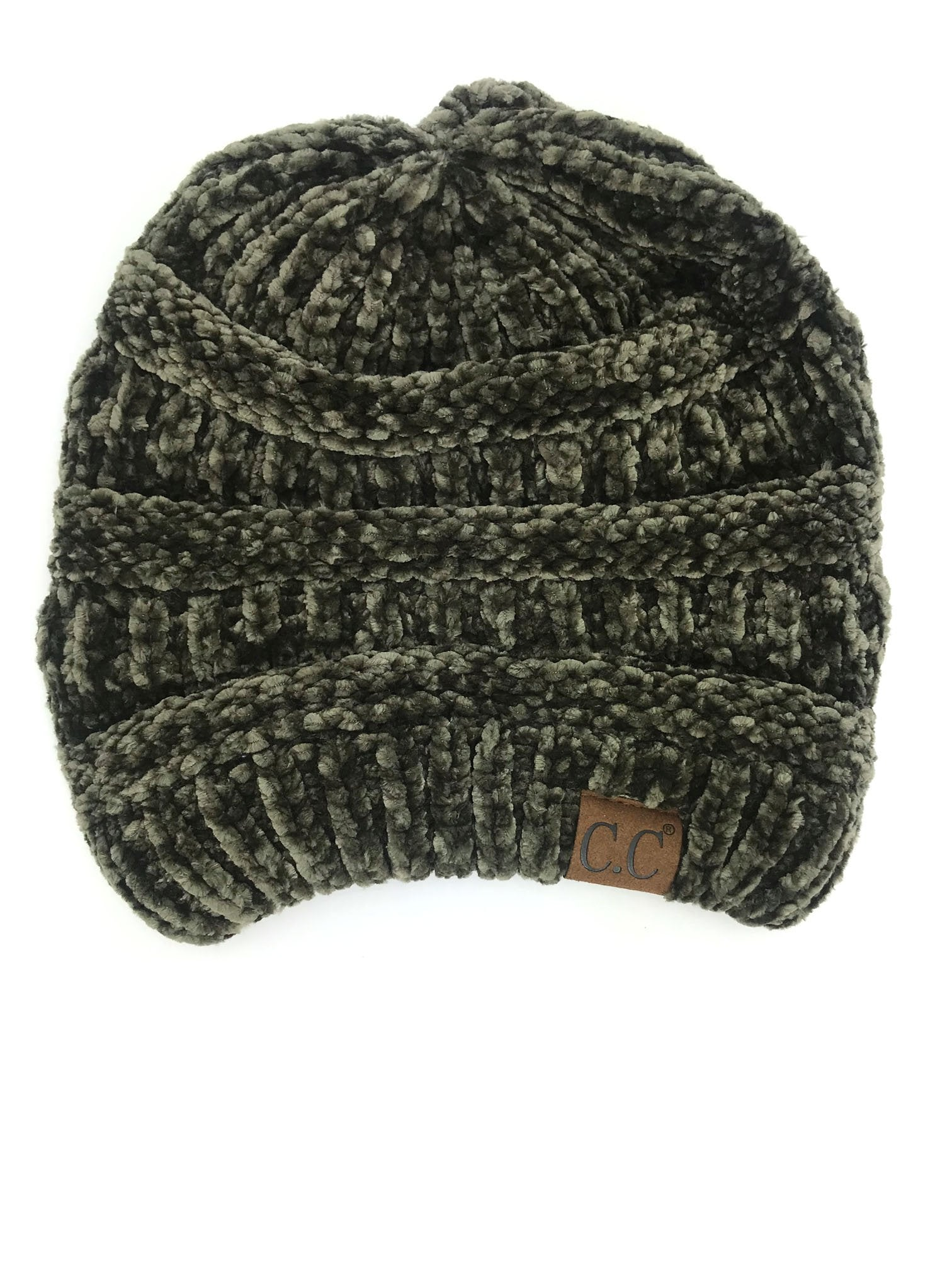Hat-30 NEW OLIVE VELOUR BEANIE