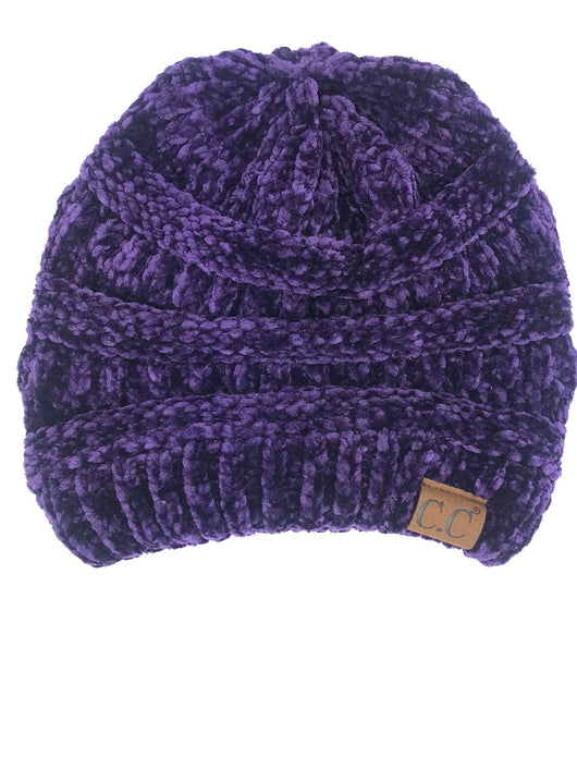 Hat-30 DARK PURPLE VELOUR BEANIE