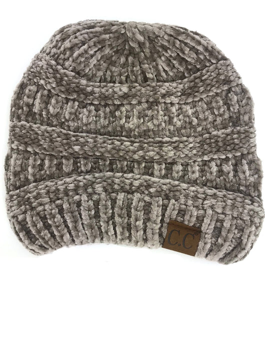 Hat-30 TAUPE VELOUR BEANIE