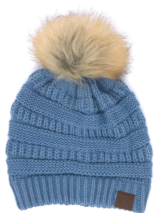 Hat-43 BEANIE W/FAUX FUR POM - DENIM