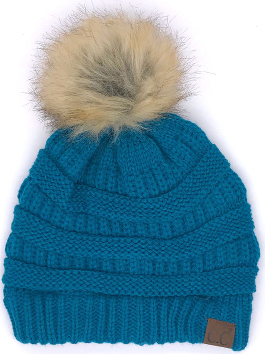 Hat-43 BEANIE W/FAUX FUR POM - TEAL