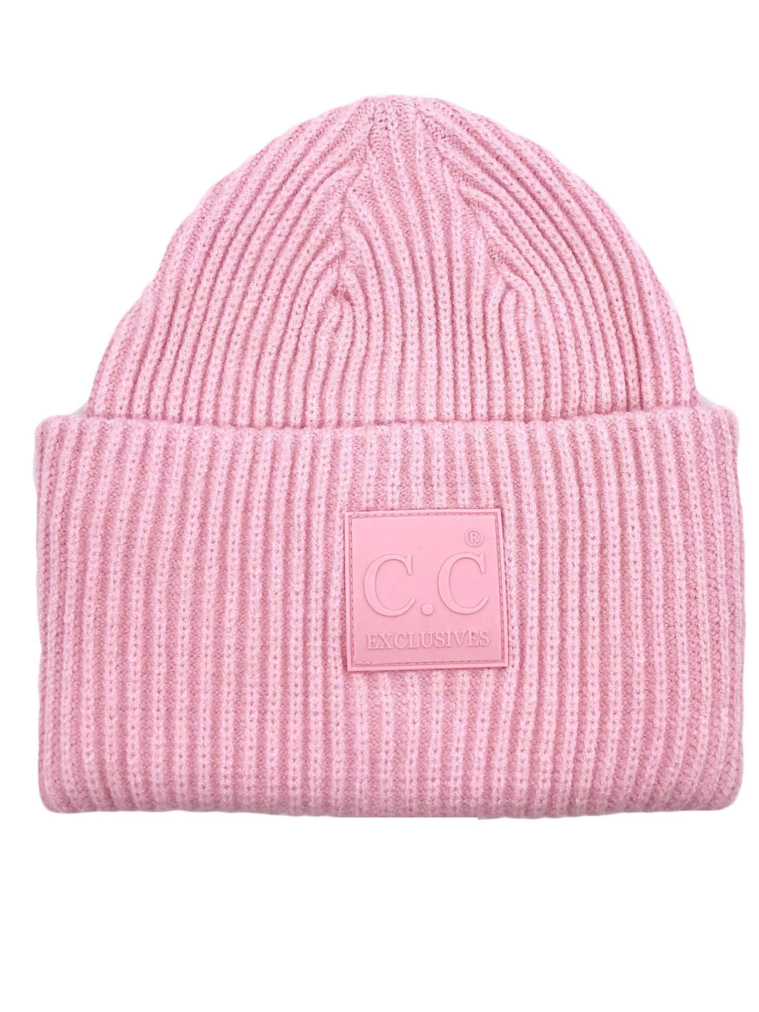 HAT-7007 Beanie with Rubber Patch Blush Pink
