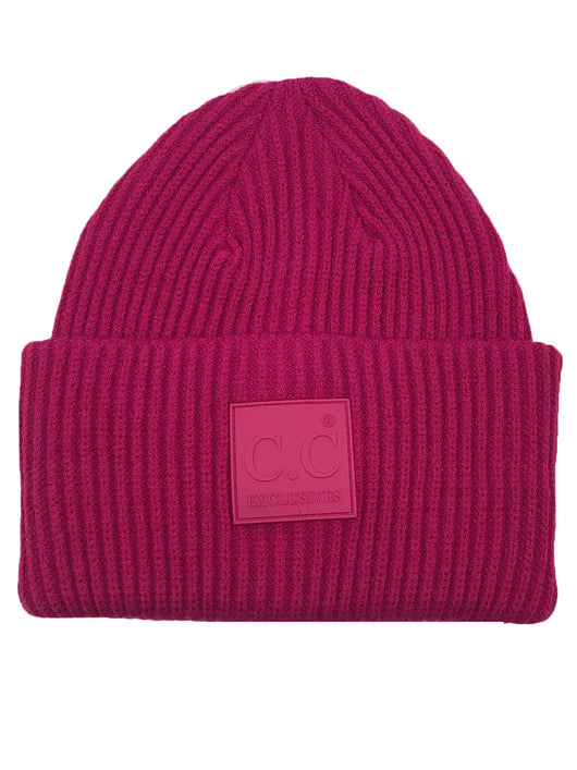 HAT-7007 Beanie with Rubber Patch Hot Pink