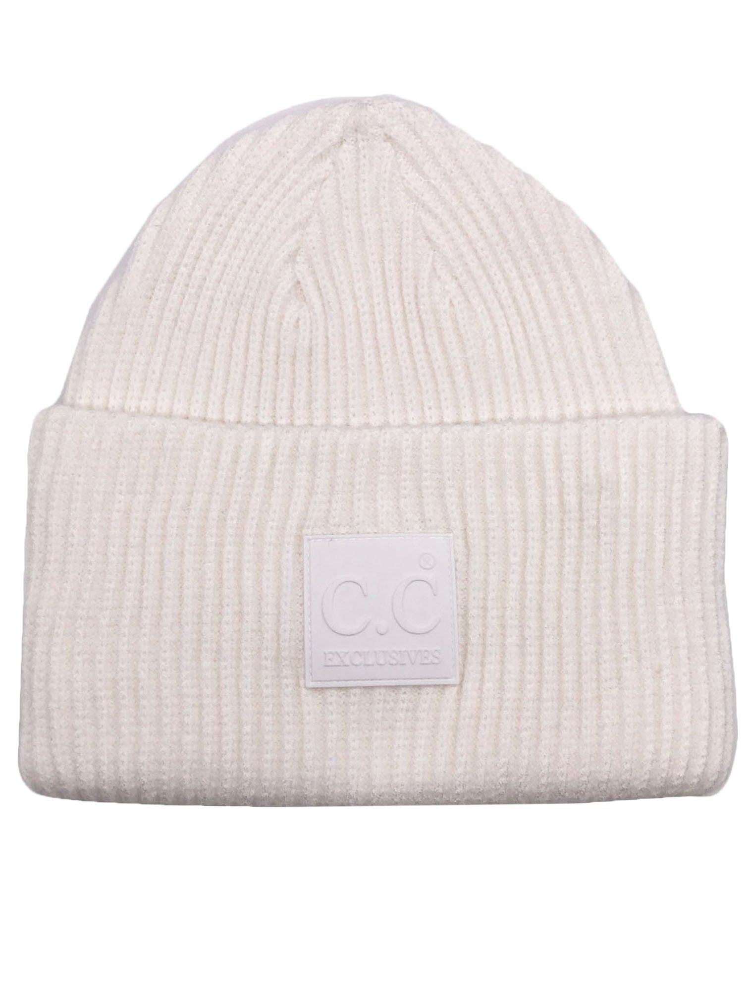 HAT-7007 Beanie with Rubber Patch Ivory