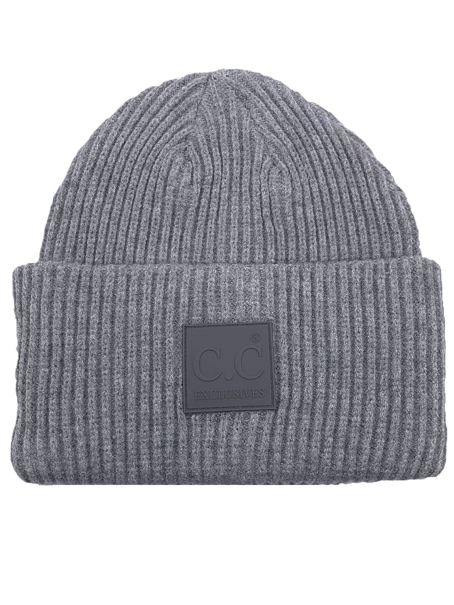 HAT-7007 Beanie with Rubber Patch Lt Melange Grey