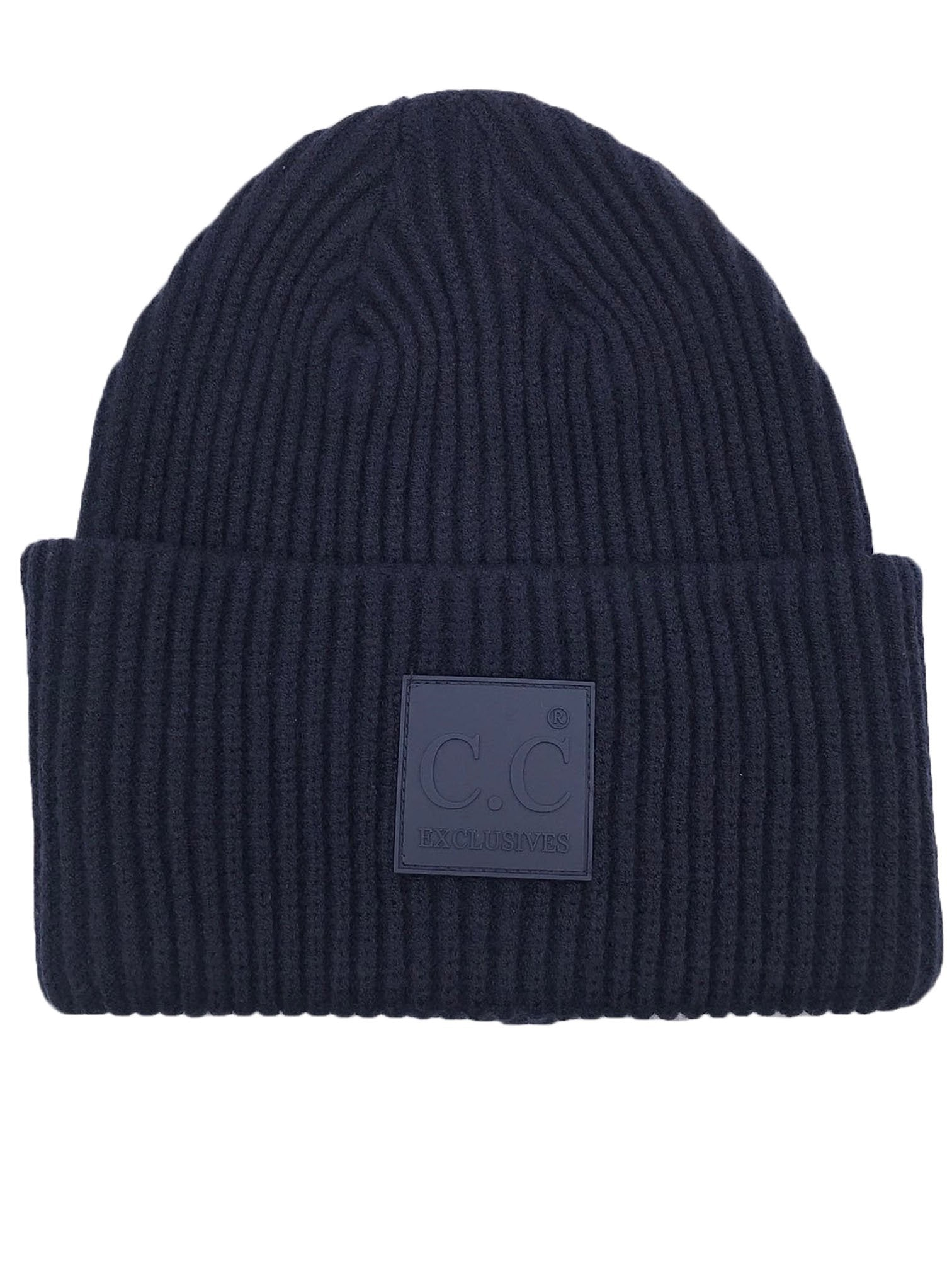 HAT-7007 Beanie with Rubber Patch Navy