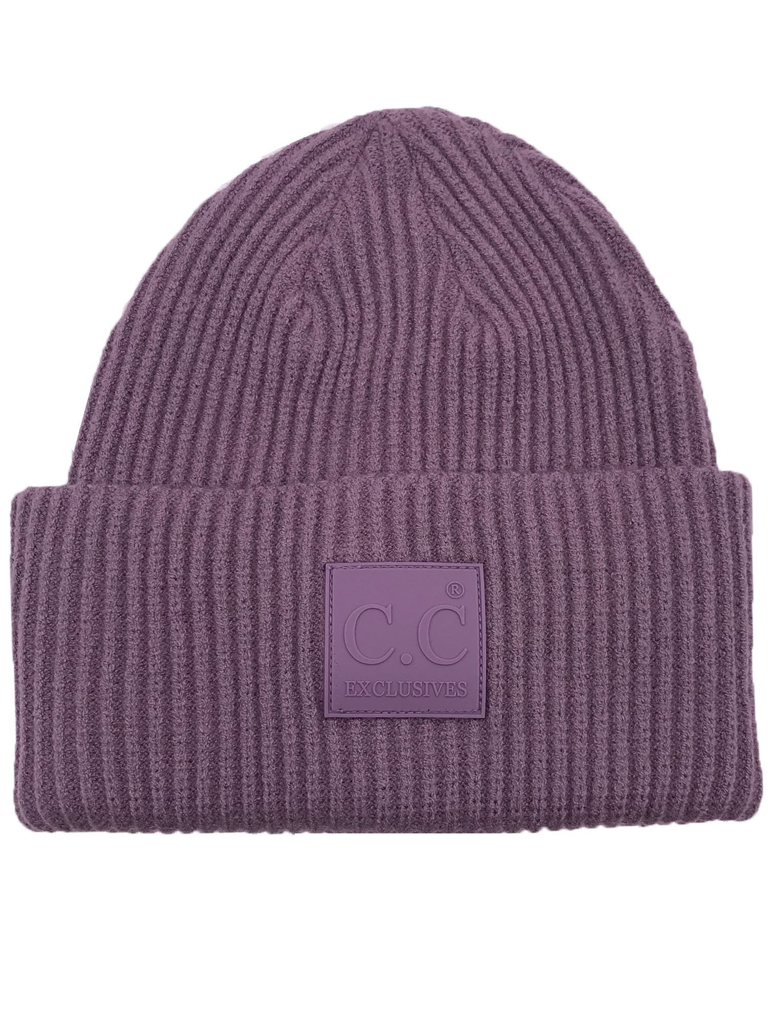 HAT-7007 Beanie with Rubber Patch Violet