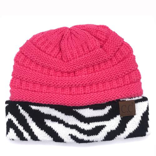 HAT-75 New Candy Pink Zebra Print