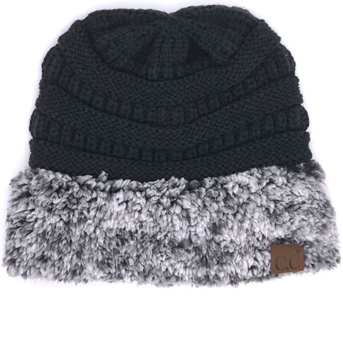 C.C HAT-88 SHERPA BEANIE BLACK/HEATHER BLACK