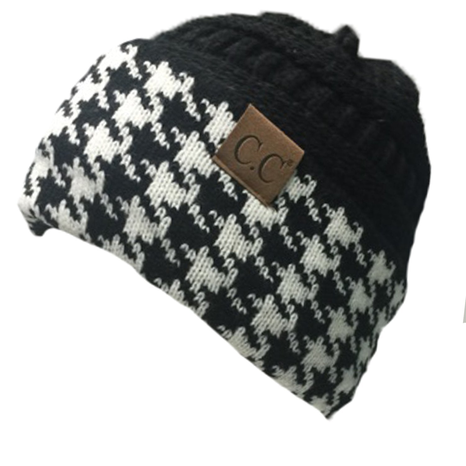 Hat-12 HOUNDSTOOTH BLACK BEANIE